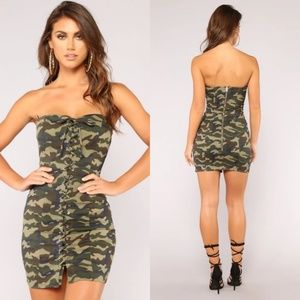 Fashion Nova - Boot Camp Camo Dress - M